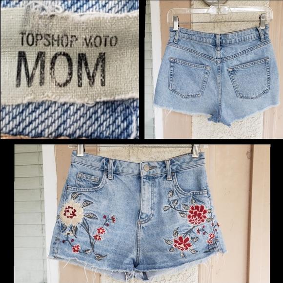 Topshop Pants - 8 women TOPSHOP MOM denim shorts cutoff festival